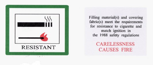 Furnisher fire safety sticker
